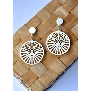 Royal Mystique Wood Earrings-CWE0000015