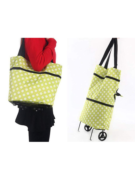 Polyester Trolley Luggage Bags Traveling Vegetable Grocery Clothing Bag with Light Weight and Medium Size with Wheels for Girls Boys Women Ladies Men-1