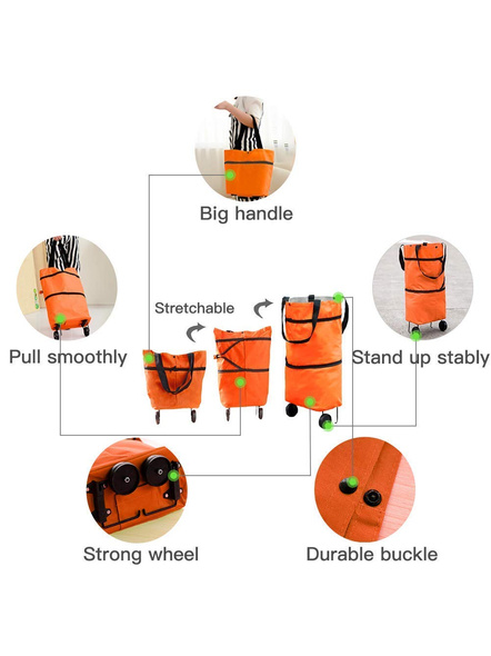 Polyester Trolley Luggage Bags Traveling Vegetable Grocery Clothing Bag with Light Weight and Medium Size with Wheels for Girls Boys Women Ladies Men-2