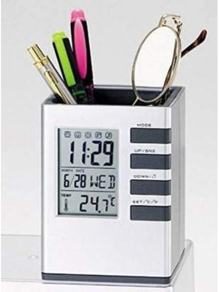 1 Compartment Plastic Clock Decor Ruler Pencil Pen Holder Container, Cube Desk Stand (White)-G12