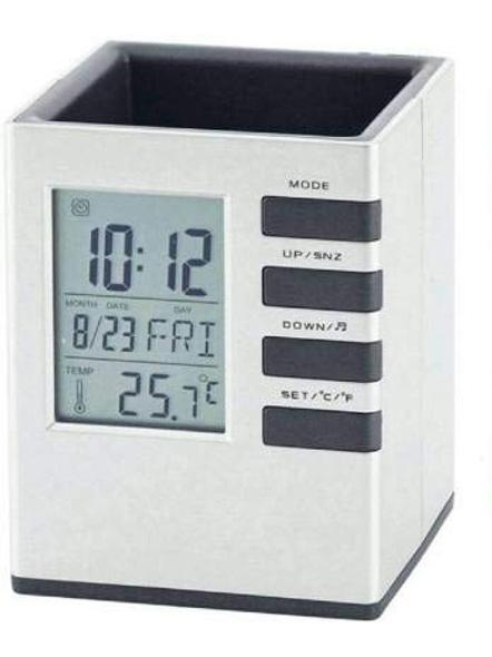 1 Compartment Plastic Clock Decor Ruler Pencil Pen Holder Container, Cube Desk Stand (White)-1