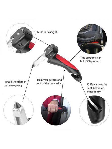 Car Cane Auto Handgreep Cane Handle Flashlight seat Belt Cutter Glass Breaker Mobility Standing Aid-3