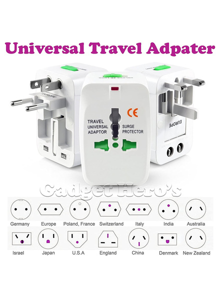 All in One Universal Power Adapter. Worldwide Travel Adaptor. Surge Protector.-G23