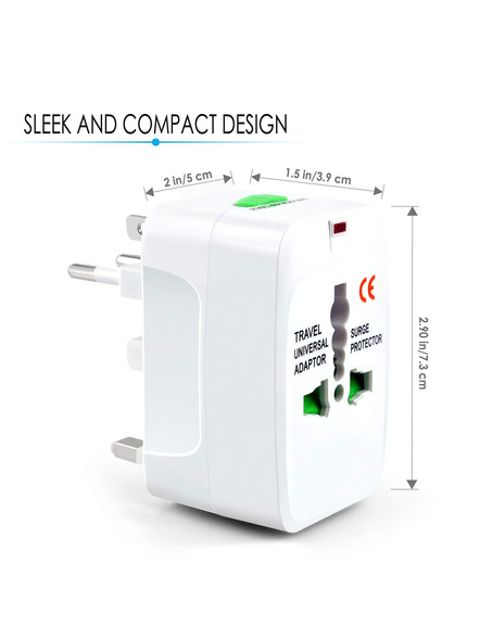 All in One Universal Power Adapter. Worldwide Travel Adaptor. Surge Protector.-2