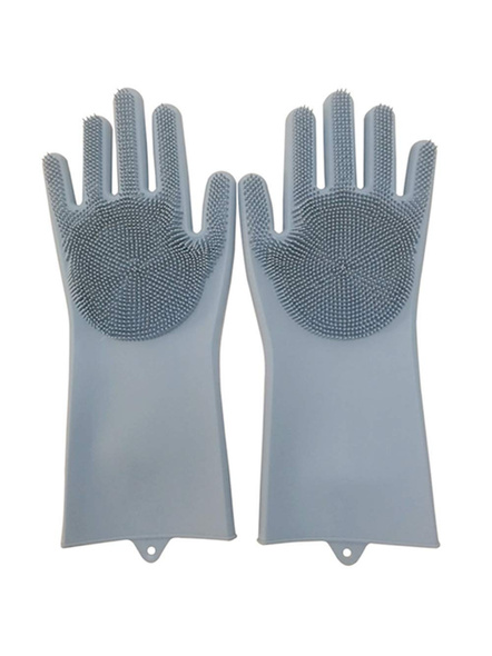 Magic Silicone Dish Washing Hand Gloves for Cleaning, Kitchen, Car, Bathroom and Pet Grooming (Color as per availability) - 1 Pair-G34
