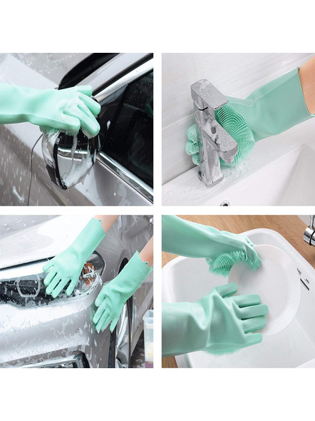 Magic Silicone Dish Washing Hand Gloves for Cleaning, Kitchen, Car, Bathroom and Pet Grooming (Color as per availability) - 1 Pair-3