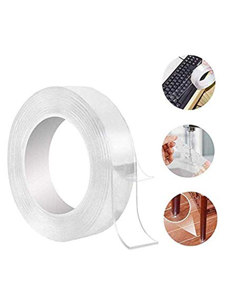 Double Sided Nano Reusable and Washable Universal Anti-Slip Sticky Strips Nano Gel Adhesive Silicon Tape Roll Pads , 3 m-1
