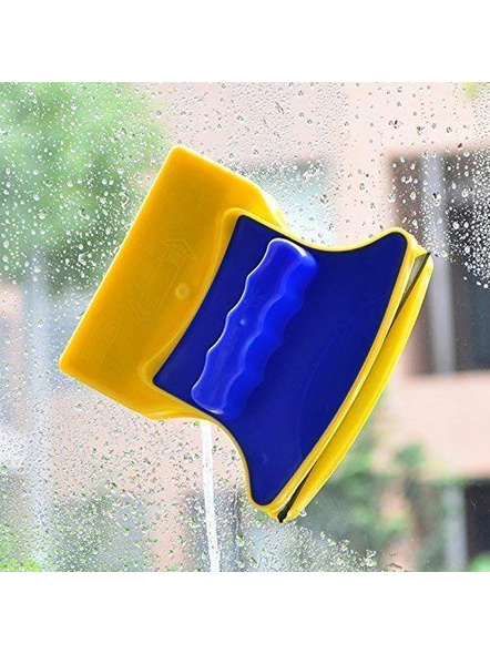 Plastic Magnetic Easy Clean Double Faced Glass Wiper Strong Magnetic Window Cleaner Tool Glass Wizard Brush Cleaner with 2 Extra Cleaning Cotton Cleaner Squeegss (Standard, Multicolor)-G83