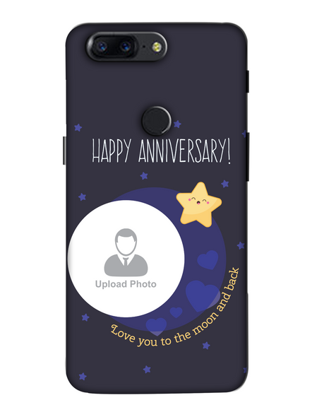 3D Happy Anniversary Blue Theme Personalized Mobile Back Cover for OnePlus-OnePlus-5T-Ann0022
