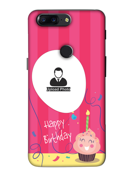 3D Happy Birthday Cup Cake Candle Customised Back Cover for Oneplus-OnePlus-5T-Hbd00421