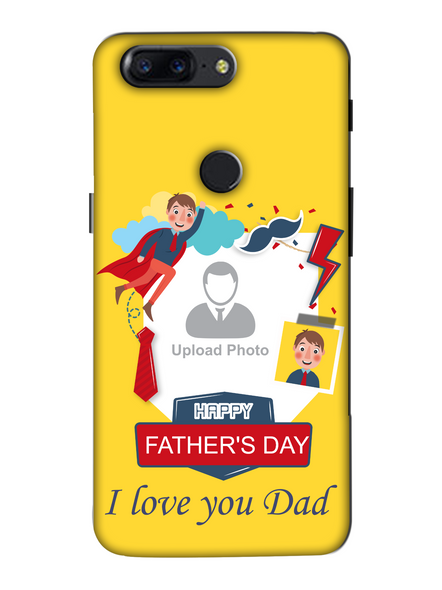 3D Super Father's Day Party Background Mobile Back Cover for Oneplus-OnePlus-5T-Fday00325