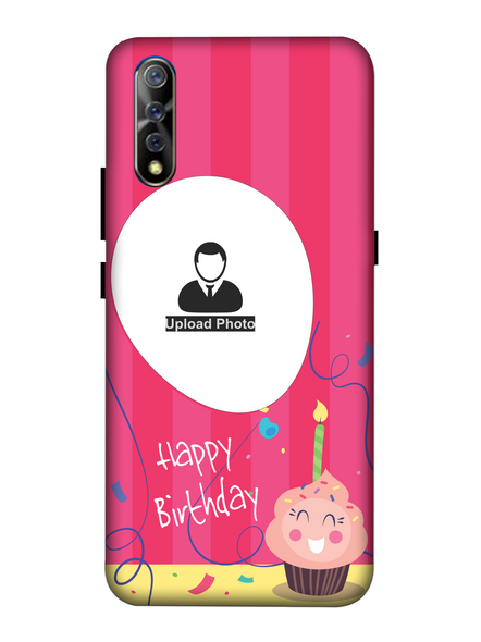 3D Happy Birthday Cup Cake Candle Customised Back Cover for Vivo-VIVO-S1-HBD000459