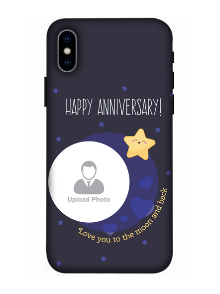 3D Happy Anniversary Blue Theme Personalized Mobile Back Cover for Apple iPhone-Apple-iPhone-X-0278