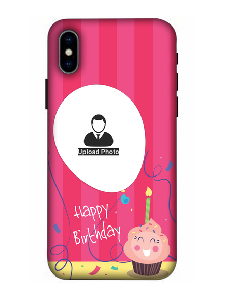 3D Happy Birthday Cup Cake Candle Customised Back Cover for Apple iPhone-Apple-iPhone-X-0497