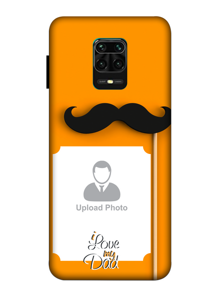 3D Mustache Father's Day Celebration Customised Mobile Back Cover for Xiaomi-Redmi-Note-9-P-05179