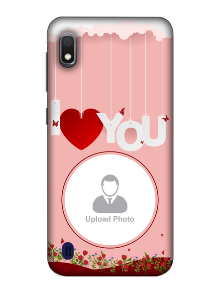 3D Hanging I Love You Flowers Customised Mobile Back Cover for Samsung-SAMSUNG-A10--02219