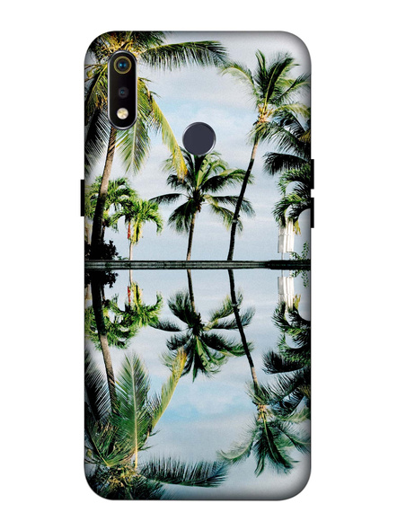 Oppo 3D Designer Coconut Tree Printed  Mobile Cover-Realme3i-MOB002964