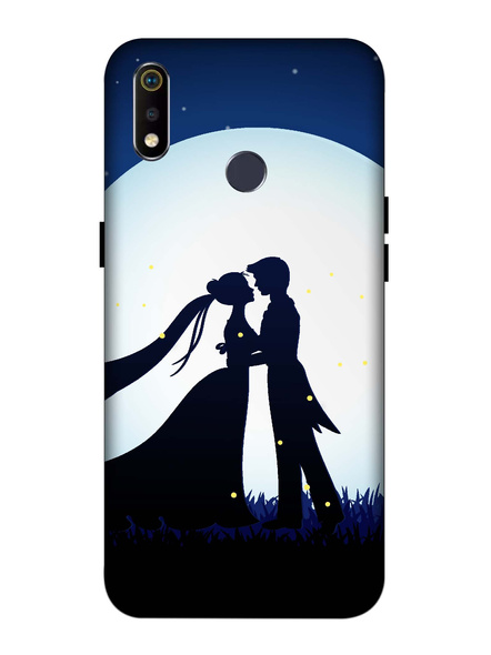 Oppo 3D Designer Couple Kissing on Moon Printed  Mobile Cover-Realme3i-MOB002968