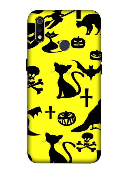 Oppo 3D Designer Cute Cat and Bat Printed  Mobile Cover-Realme3i-MOB002985