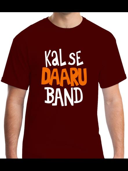 Kal Se Daaru Band Round Neck Tshirt for Men-RNECK0003-Brown-M