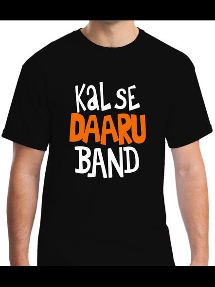 Kal Se Daaru Band Round Neck Tshirt for Men-RNECK0003-Black-L