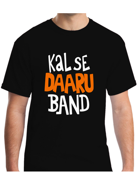 Kal Se Daaru Band Round Neck Tshirt for Men-RNECK0003-Black-XXL