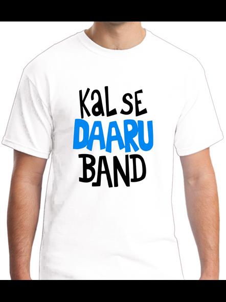 Kal Se Daaru Band Round Neck Tshirt for Men-RNECK0003-White-L