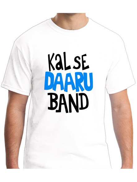 Kal Se Daaru Band Round Neck Tshirt for Men-RNECK0003-White-XL