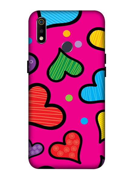 Oppo 3D Designer Heart Painting Printed  Mobile Cover-Realme3i-MOB003025