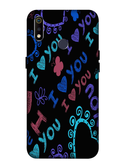 Oppo 3D Designer I Love You Typography Printed  Mobile Cover-Realme3i-MOB003034