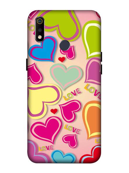 Oppo 3D Designer Multi Colorful Hearts Printed  Mobile Cover-Realme3i-MOB003067