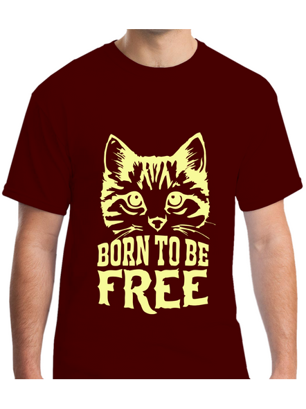 Born To Be Free Printed Round Neck Tshirt for Men-RNECK0007-Brown-M