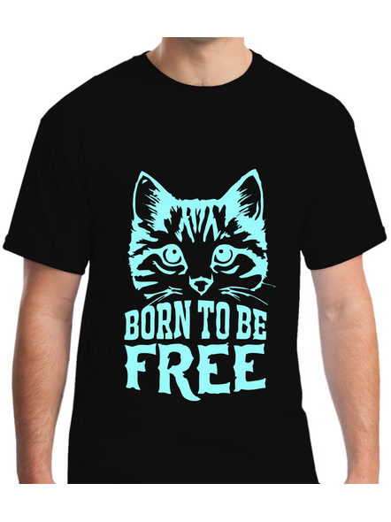 Born To Be Free Printed Round Neck Tshirt for Men-RNECK0007-Black-S
