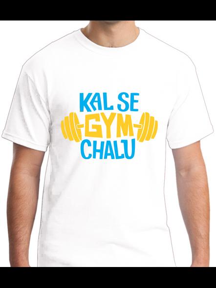 Kal Se Gym Chalu Printed Round Neck Tshirt For Men-RNECK0008-White-M