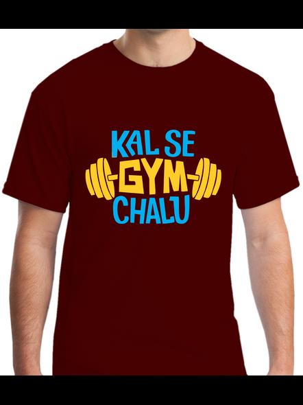 Kal Se Gym Chalu Printed Round Neck Tshirt For Men-RNECK0008-Brown-S