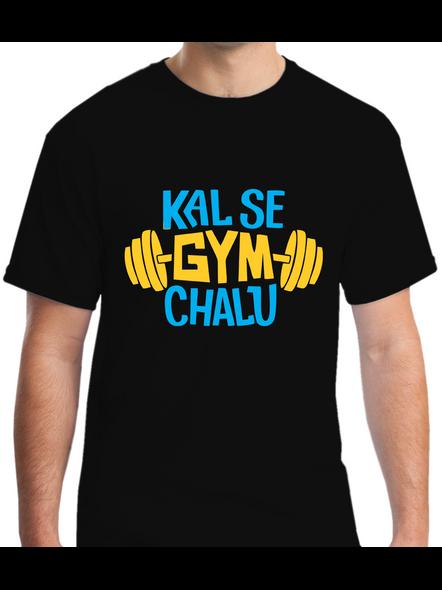 Kal Se Gym Chalu Printed Round Neck Tshirt For Men-RNECK0008-Black-M