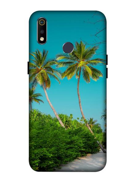 Oppo 3D Designer Sea Beach Tree Printed  Mobile Cover-Realme3i-MOB003089