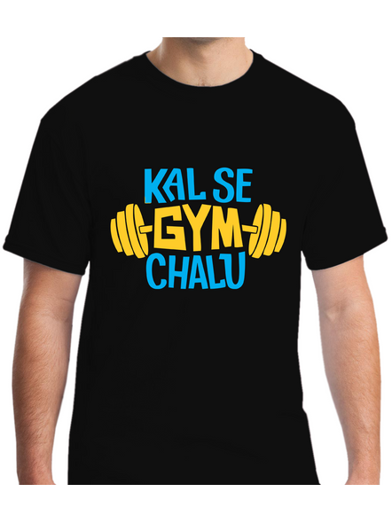 Kal Se Gym Chalu Printed Round Neck Tshirt For Men-RNECK0008-Black-XXL