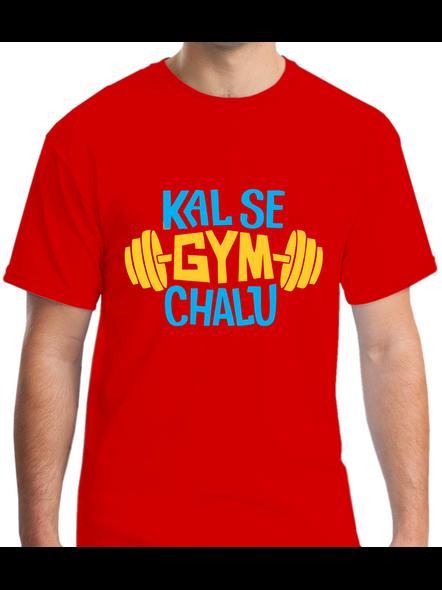 Kal Se Gym Chalu Printed Round Neck Tshirt For Men-RNECK0008-Red-L