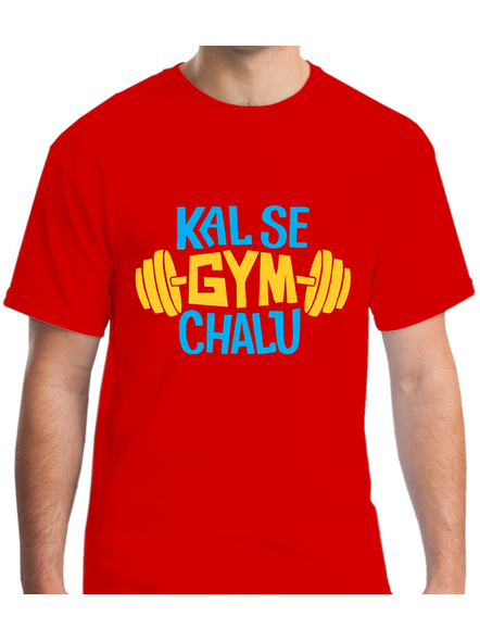 Kal Se Gym Chalu Printed Round Neck Tshirt For Men-RNECK0008-Red-XXL