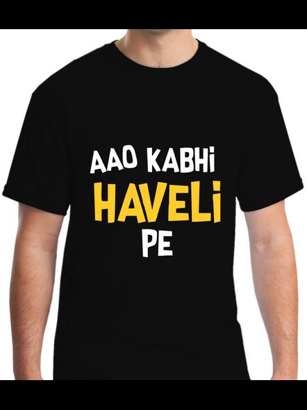 Aao Kabhi Haveli Pe Printed Round Neck Tshirt For Men-RNECK0009-Black-S