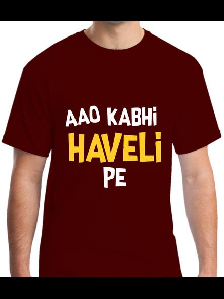 Aao Kabhi Haveli Pe Printed Round Neck Tshirt For Men-RNECK0009-Brown-M