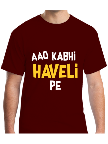 Aao Kabhi Haveli Pe Printed Round Neck Tshirt For Men-RNECK0009-Brown-XL