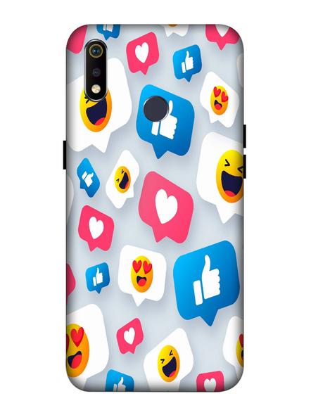 Oppo 3D Designer Social Like Love Comments Printed  Mobile Cover-Realme3i-MOB003100