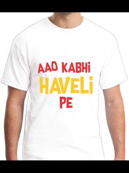 Aao Kabhi Haveli Pe Printed Round Neck Tshirt For Men-RNECK0009-White-L