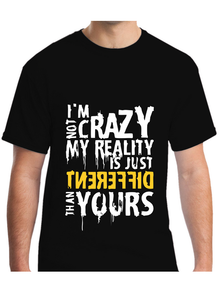 I Am Not Crazy Quote Printed Round Neck Tshirt For Men-RNECK0015-Black-L