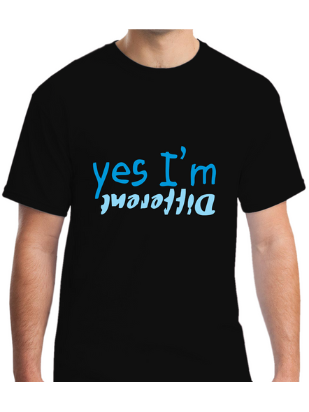 Yes I am Different Printed Round Neck Tshirt For Men-RNECK0018-Black-L