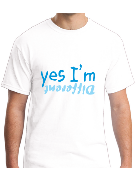 Yes I am Different Printed Round Neck Tshirt For Men-RNECK0018-White-L