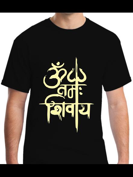 Om Namah Shivaya Printed Round Neck Tshirt For Men-RNECK0020-Black-L