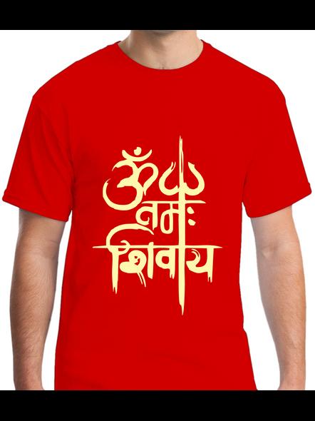 Om Namah Shivaya Printed Round Neck Tshirt For Men-RNECK0020-Red-XL